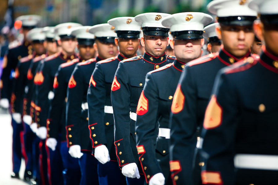 NEW YORK -- Marines from 6th Communications Battalion, Marine Forces Reserve, marched in the annual New York Veterans Day parade, here, Nov. 11. This year marks the 92st Anniversary of The New York City Veterans Day Parade. The parade is hosted by the United War Veterans Council, Inc. on behalf of the City of New York. It is the oldest and largest of its kind in the nation. Since November 11, 1919, the parade has provided an opportunity for Americans and International visitors to honor those who have served in the nation's largest city. Sgt. Dakota Meyer, the recently awarded Marine Medal of Honor recipient, rode in the parade. Major Gen. Melvin Spiese, Deputy Commanding General, I Marine Expeditionary Force, represented the Marine Corps as one of the reviewing officials of the parade. (Marine Corps photo by Sgt. Randall A. Clinton / RELEASED)